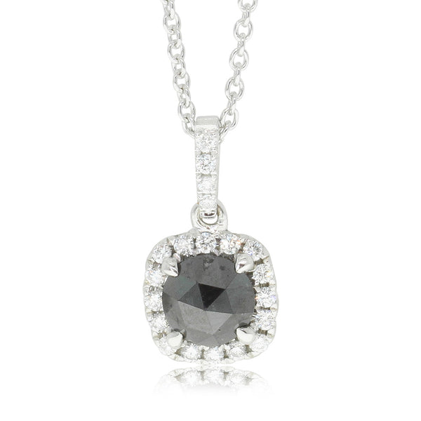 18ct White Gold .82ct Black Diamond Pendant - Walker & Hall