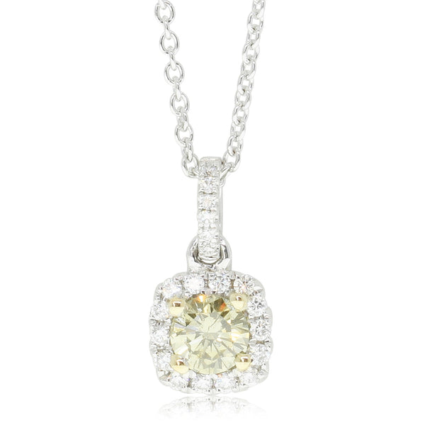 18ct White Gold .30ct Yellow Diamond Pendant - Walker & Hall