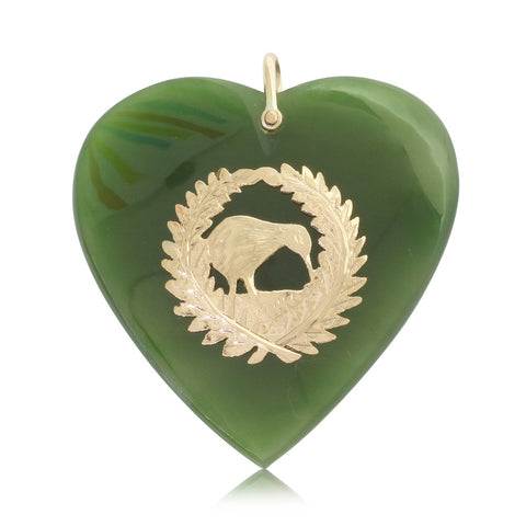 Vintage 9ct Rose Gold & Greenstone Kiwi Fern Heart Pendant - Walker & Hall