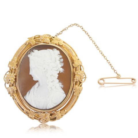 Vintage Rose Gold Cameo Mourning Brooch - Walker & Hall