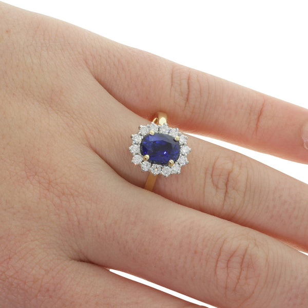 18ct Yellow & White Gold Sapphire & Diamond Ring - Walker & Hall