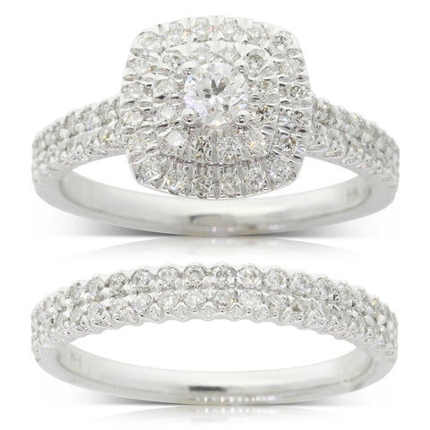Gift Set - 9ct White Gold Diamond Lumiere Ring & Band - Walker & Hall