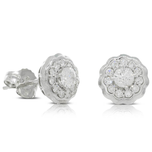 9ct White Gold .50ct Diamond Rosette Earrings - Walker & Hall