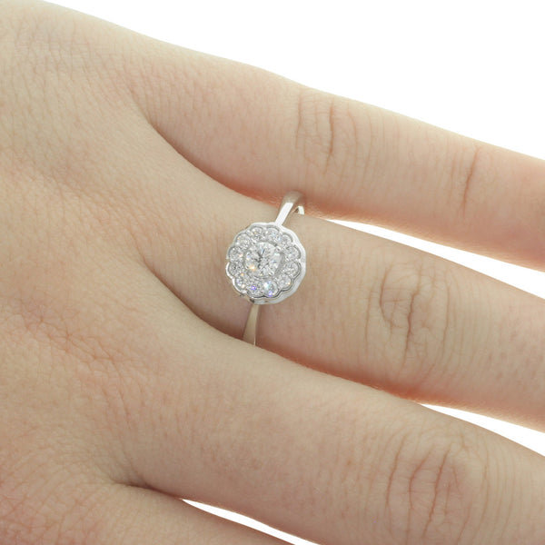 9ct White Gold Diamond Rosette Ring - Walker & Hall