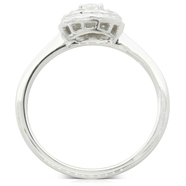9ct White Gold Diamond Rosette Ring