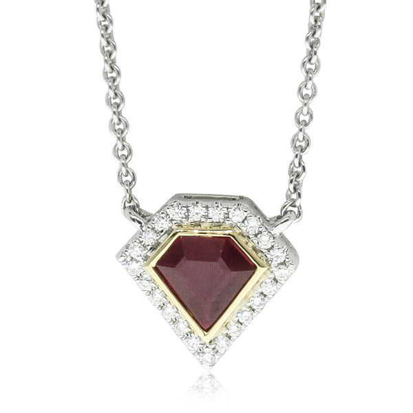 18ct Yellow & White Gold Ruby & Diamond Pendant - Walker & Hall