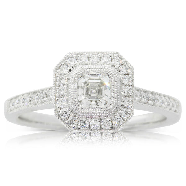 18ct White Gold .47ct Diamond Halo Ring - Walker & Hall