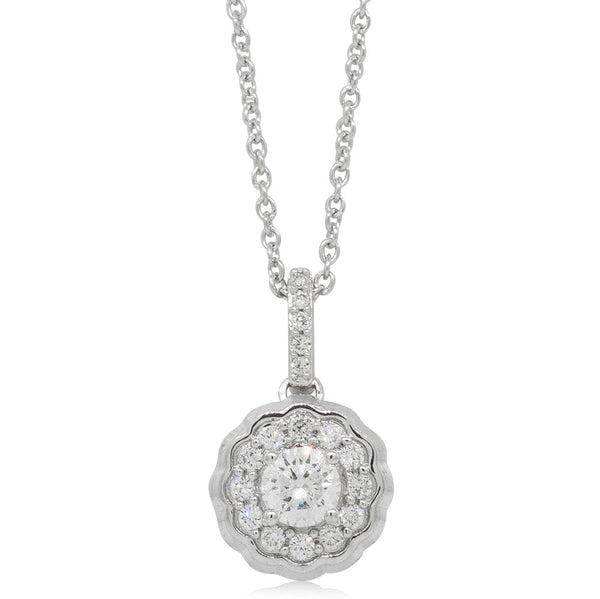 9ct White Gold .50ct Diamond Rosette Pendant