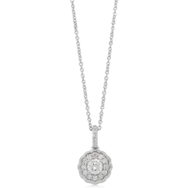 9ct White Gold .50ct Diamond Rosette Pendant - Walker & Hall