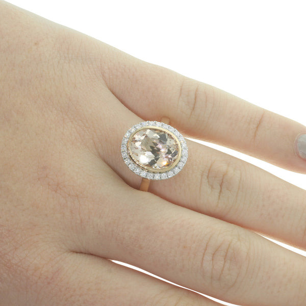 18ct Rose & White Gold Morganite & Diamond Ring - Walker & Hall