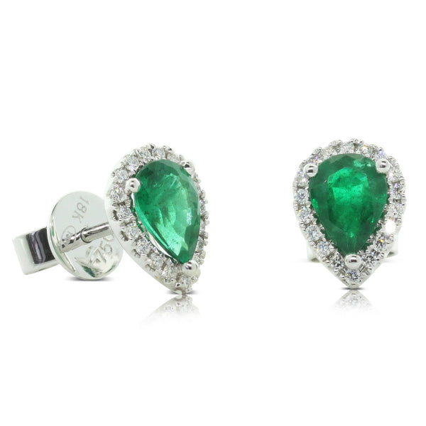 18ct White Gold Emerald & Diamond Stud Earrings - Walker & Hall