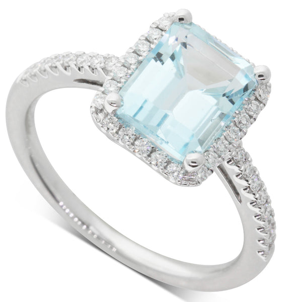 18ct White Gold Aquamarine & Diamond Halo Ring