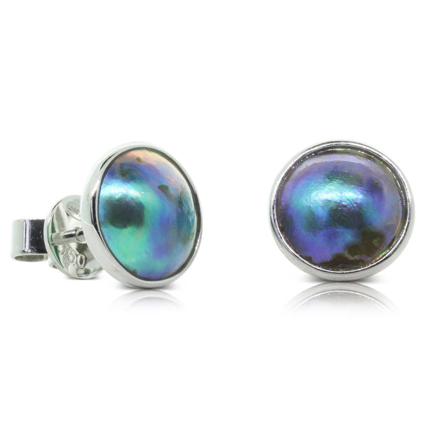 18ct White Gold Paua Pearl Stud Earrings - Walker & Hall