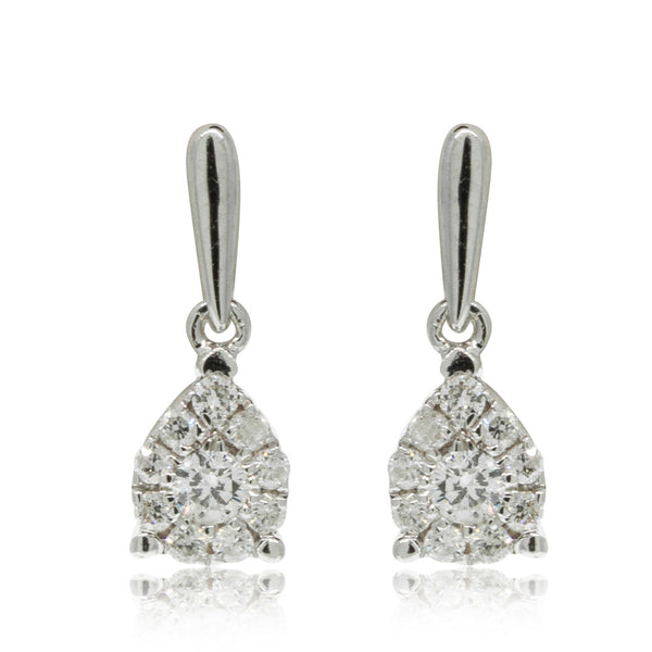 9ct White Gold .20ct Diamond Drop Earrings - Walker & Hall