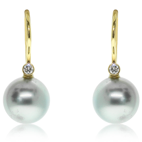 18ct Yellow Gold Cultured Black Pearl & Diamond Earrings