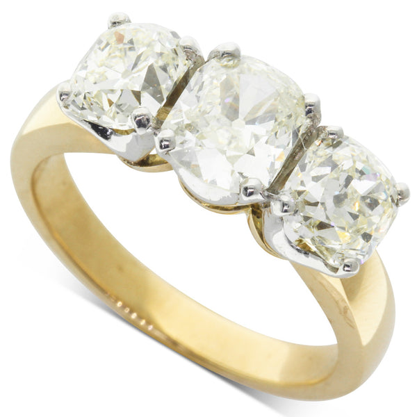 18ct Yellow Gold 3.08ct Diamond Three Stone Ring - Walker & Hall