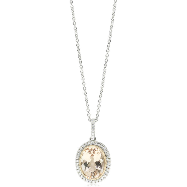 18ct White & Rose Gold Morganite & Diamond Pendant - Walker & Hall