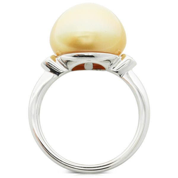 18ct White Gold Golden Pearl & Diamond Ring - Walker & Hall