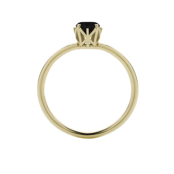 Meadowlark 9ct Yellow Gold Signature Solitaire Ring - Black Diamond - Walker & Hall
