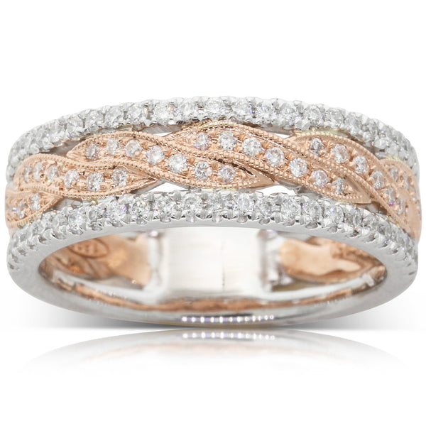 18ct White & Rose Gold Diamond Ring - Walker & Hall