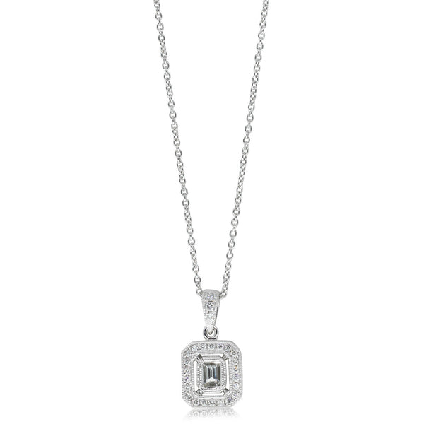 18ct White Gold .36ct Diamond Pendant - Walker & Hall