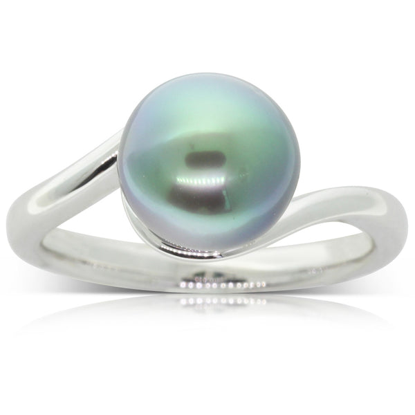 18ct White Gold Cultured Tahitian Black Pearl Ring - Walker & Hall