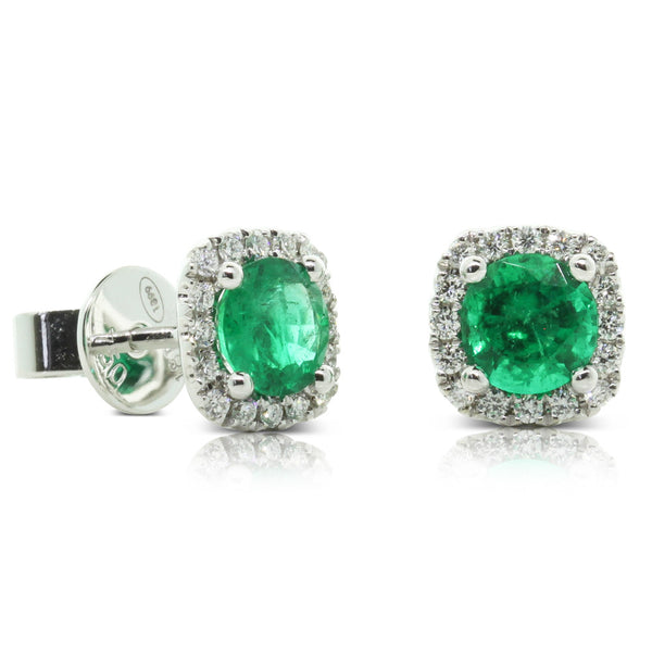 18ct White Gold Emerald & Diamond Halo Earrings - Walker & Hall