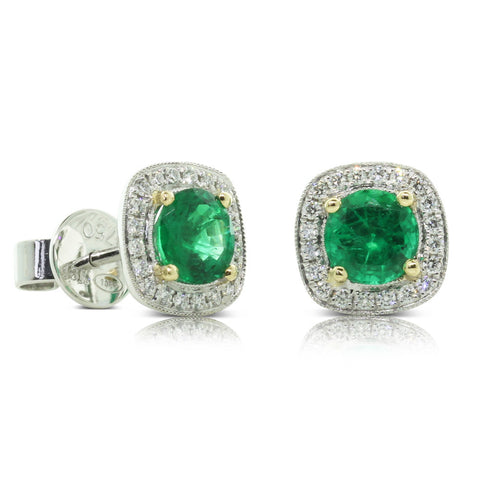 18ct White & Yellow Gold Emerald & Diamond Earrings - Walker & Hall