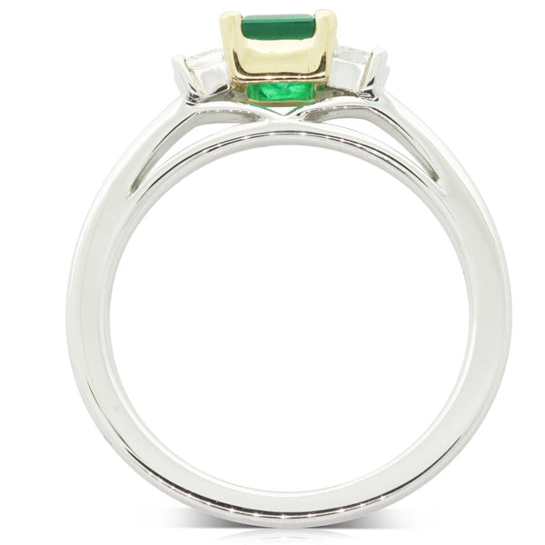18ct White & Yellow Gold Emerald & Diamond Ring - Walker & Hall