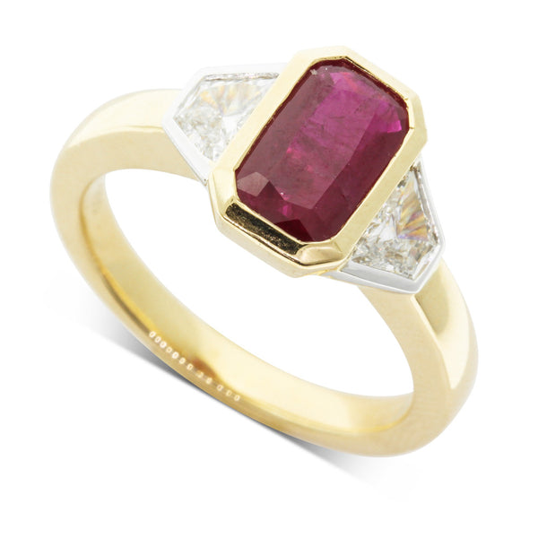18ct Yellow & White Gold Ruby & Diamond Ring - Walker & Hall