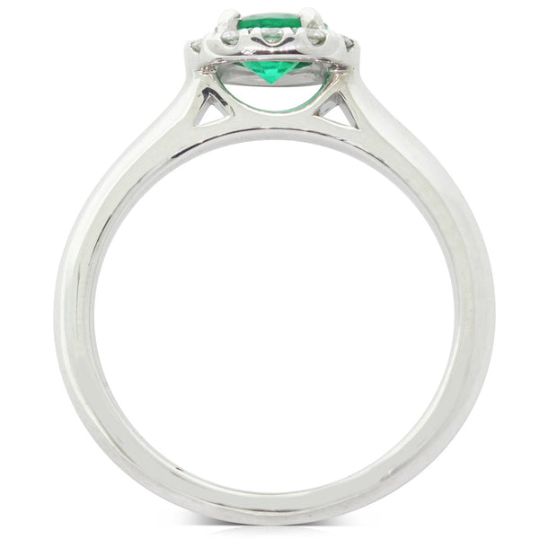 18ct White Gold Emerald & Diamond Eclipse Ring - Walker & Hall
