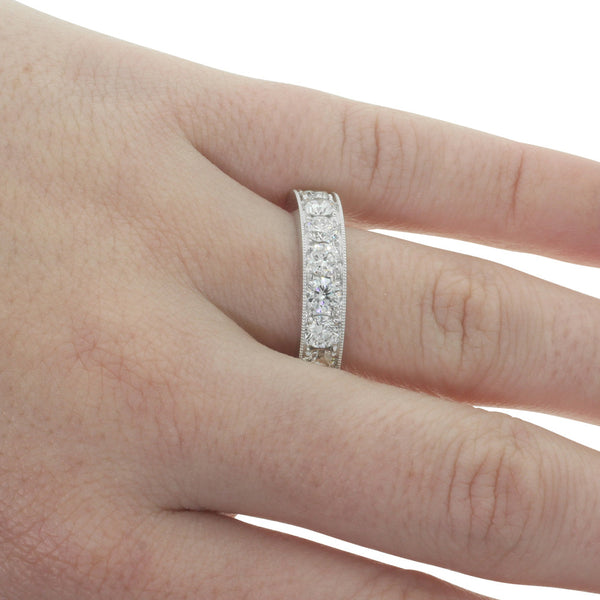 18ct White Gold 3.28ct Diamond Eternity Ring - Walker & Hall