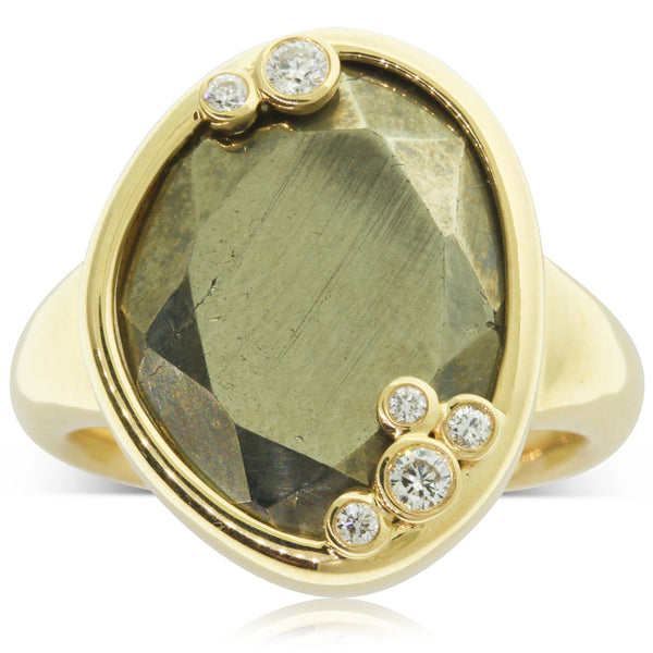 18ct Yellow Gold Pyrite & Diamond Ring - Walker & Hall