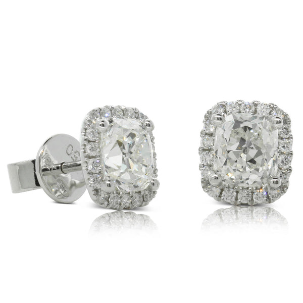 18ct White Gold 2.42ct Diamond Halo Studs - Walker & Hall