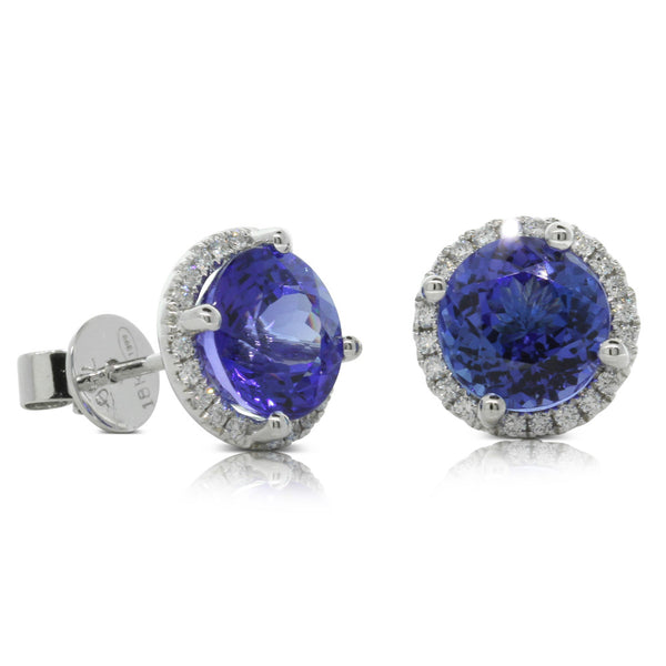 18ct White Gold Tanzanite & Diamond Halo Studs - Walker & Hall