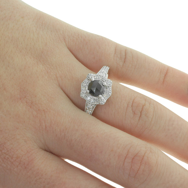 18ct White Gold Rose Cut Black Diamond Halo Ring - Walker & Hall
