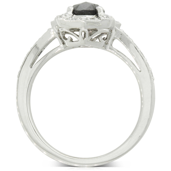 18ct White Gold .69ct Rose Cut Black Diamond Halo Ring - Walker & Hall