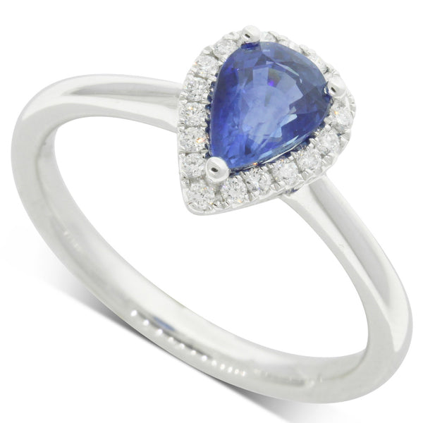 18ct White Gold Pear Cut Sapphire & Diamond Halo Ring - Walker & Hall