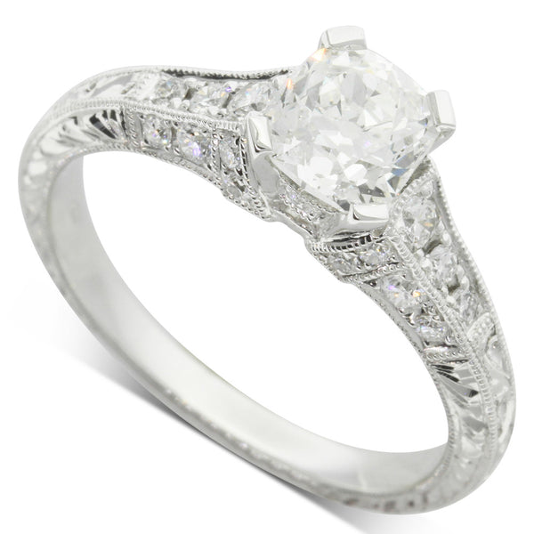 18ct White Gold 1.01ct Cushion Cut Diamond Ring - Walker & Hall