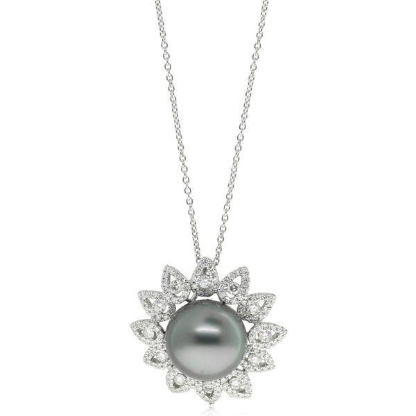 18ct White Gold 1.27ct Diamond And Pearl Pendant - Walker & Hall