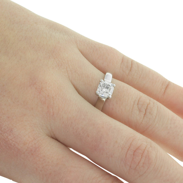 18ct White Gold 1.00ct Cushion Cut Diamond Solitaire Ring - Walker & Hall