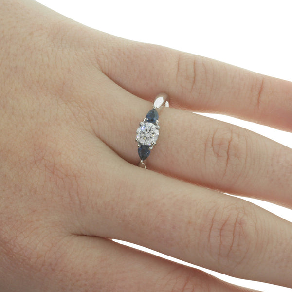 18ct White Gold Diamond & Sapphire Trilogy Ring - Walker & Hall