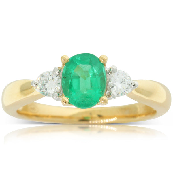 18ct White & Yellow Gold Emerald & Diamond Trilogy Ring - Walker & Hall