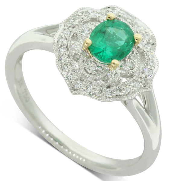18ct White & Yellow Gold Emerald And Diamond Ring