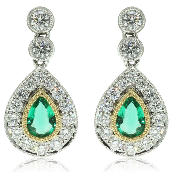 18ct White Gold Emerald And Diamond Drop Earrings - Walker & Hall