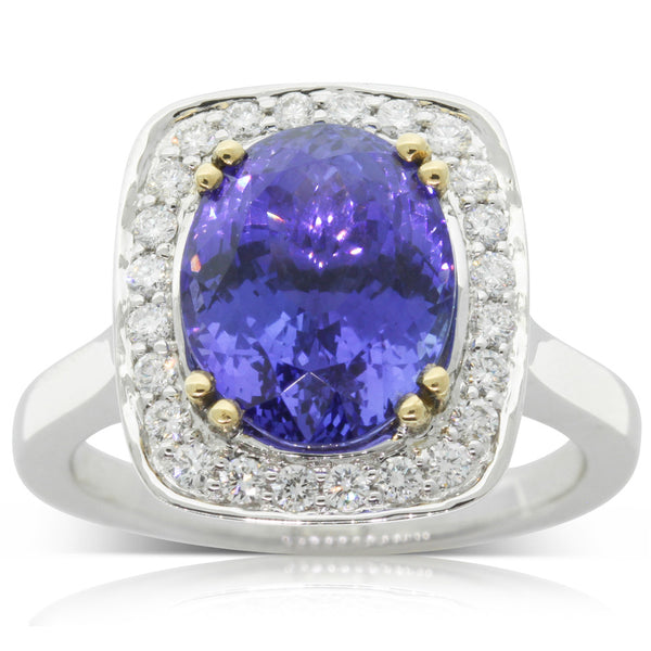 18ct White & Yellow Gold Tanzanite & Diamond Halo Ring - Walker & Hall