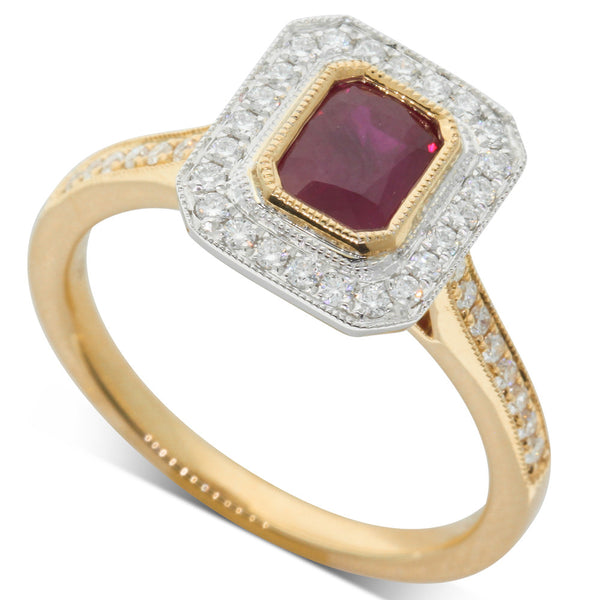 18ct White & Yellow Gold Ruby & Diamond Ring - Walker & Hall