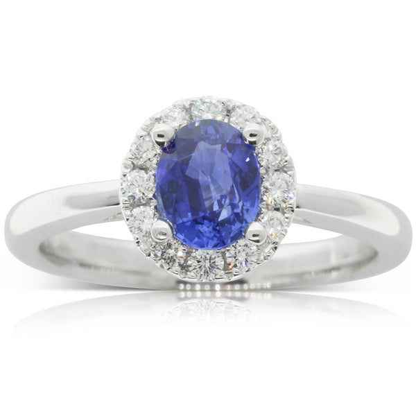 18ct White Gold Sapphire & Diamond Halo Ring - Walker & Hall