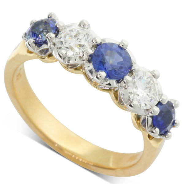 18ct White & Yellow Gold Sapphire & Diamond Ring - Walker & Hall
