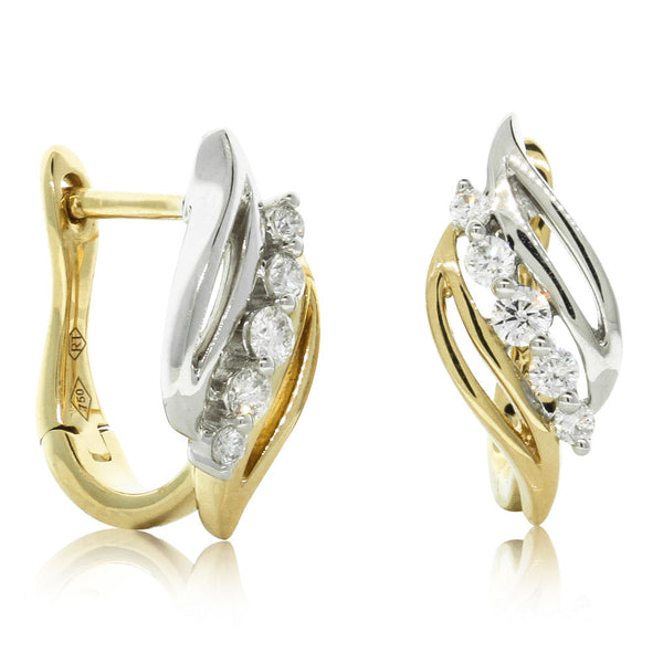 18ct White & Yellow Gold .21ct Diamond Earrings - Walker & Hall